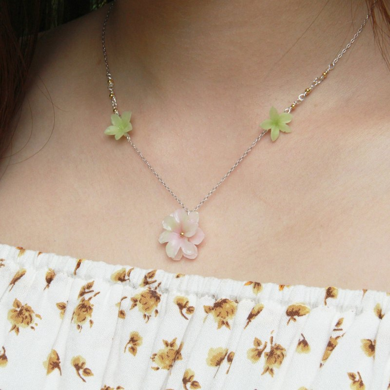 Pamycarie Spring resin clay pink 925 sterling silver necklaces