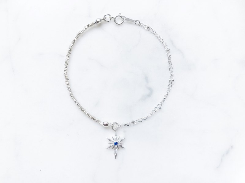 ::Silver Quartet :: Snow Man Asymmetric Double Chain Silver Bracelet (2.0)