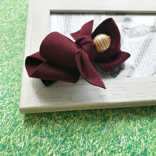 Simple pearl double wire clip (winter red wine) * winter collection: double bow (burgundy red)