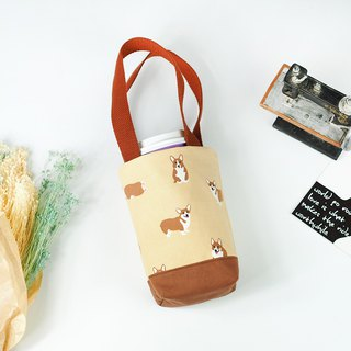 Green Handmade beverage bag canteen bag