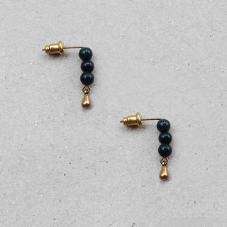 Vintage Style Jade Stud Brass Earrings