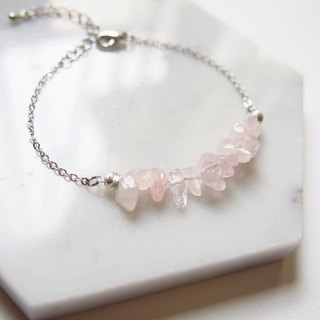 Simple pink crystal · natural stone · 925 silver beads · rhodium-plated copper bracelet