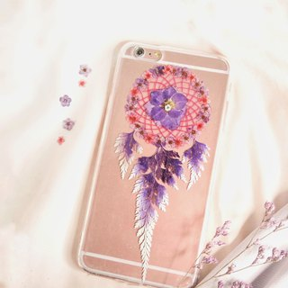 Pressed Flower Dreamcatcher Phone Case | Purple & Fuchsia