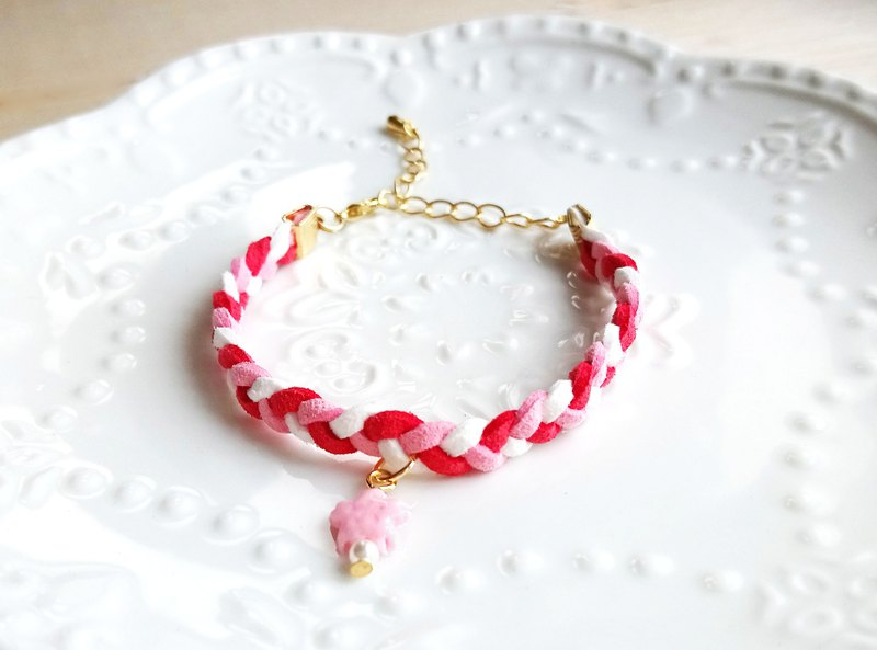Powder cherry blossom Korean velvet bracelet