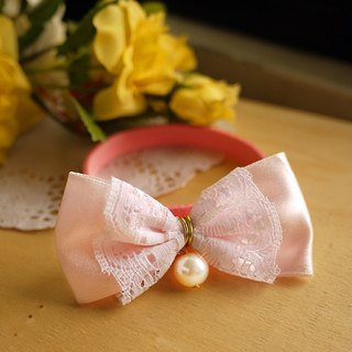 """Pink"" small pearl lace ribbon bow ︱ safe hands to do cats and dogs pet collar / collar / hair accessories cherry pudding Cherry Pudding ♥ ♥"