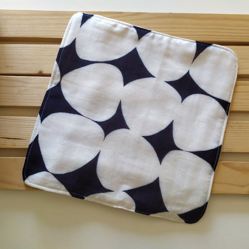 Dark blue bottom triangle dumplings six heavy yarn small handkerchief square towel baby wash towel wipe sweat towel saliva towel