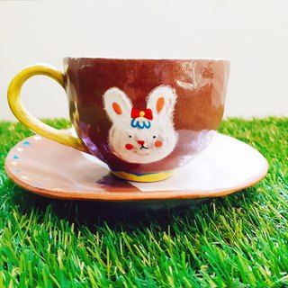 Hand pinch coffee cup set - rabbit baby
