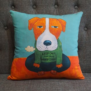 Wave wave pillow X sit series * KEEP CALM and HUG MIXED DOGS