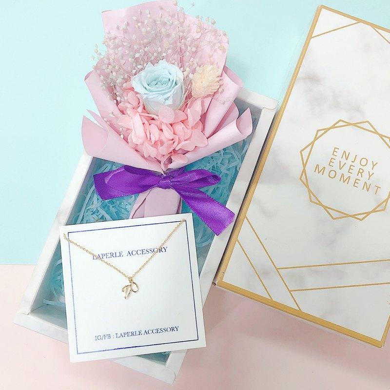 情人節禮物 客制化 乾燥花 不凋花禮盒 字母 頸鏈 項鍊婚禮小物