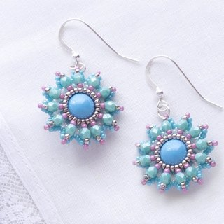 Beaded flower earrings turquoise silver, silver 925, dangle earrings, 375