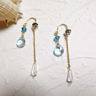 Light Blue Topaz 14K Gold Drop Earrings Front and Rear Dual