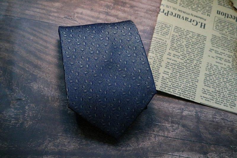 藍色燙金暗紋領帶真絲型男商務necktie
