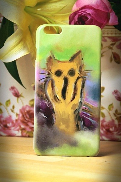 Watercolor cat s008 cat cries David Videos cat iPhone i5.i6s, i6splus / Android Samsung Samsung, HTC, Sony designer handsets shell / protective cover / kitty cat phone shell