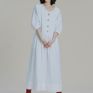 Shan Yong white hemp five-point puff sleeve long dress