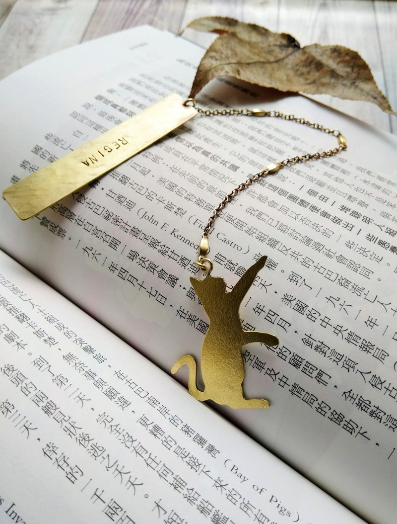 【daily. Handmade brass cat bookmark (printable English name)