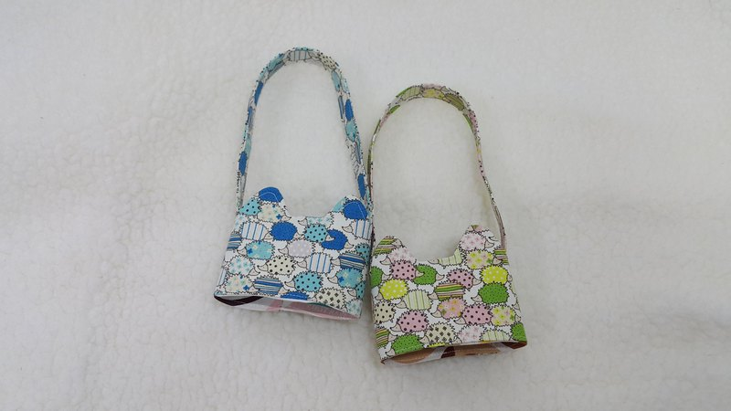 Little hedgehog / dichroic cat ear with eco-friendly drink sleeve bag / double-sided available
