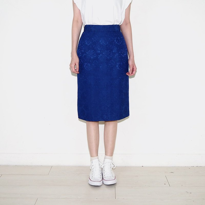 Blue vintage rose burnt chiffon vintage high waist skirt BS2012