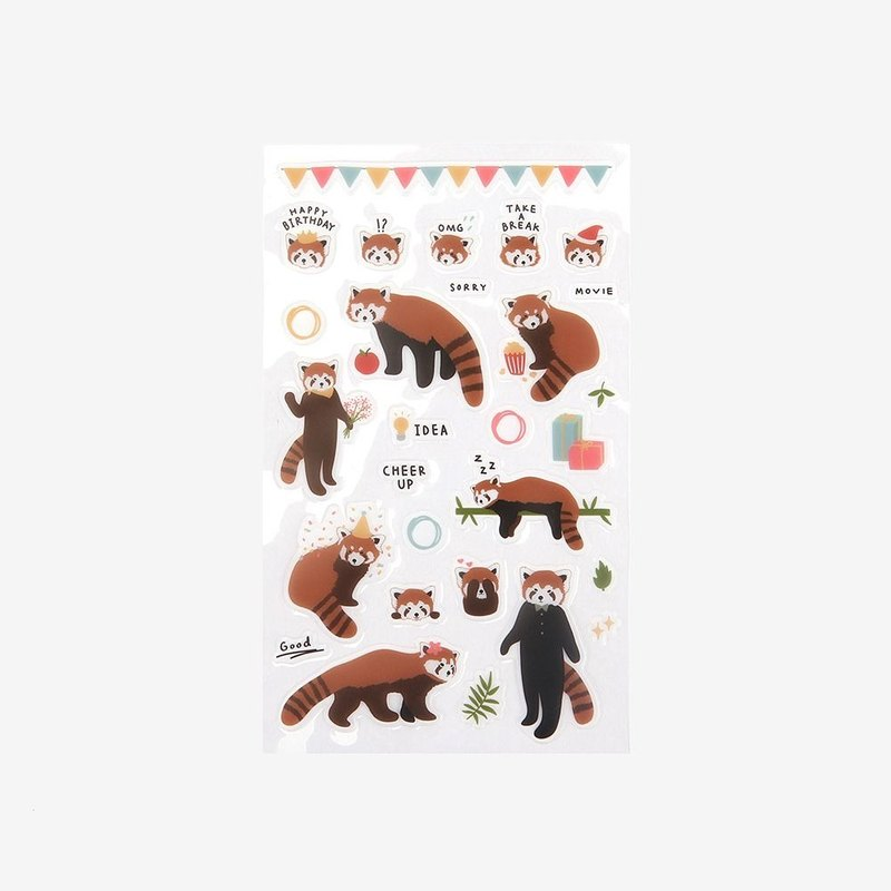 Dailylike day beautiful decorative transparent sticker -02 red panda, E2D44400