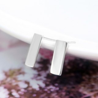 Earrings Rectangular Geometric Thin Silver Earrings - 64DESIGN