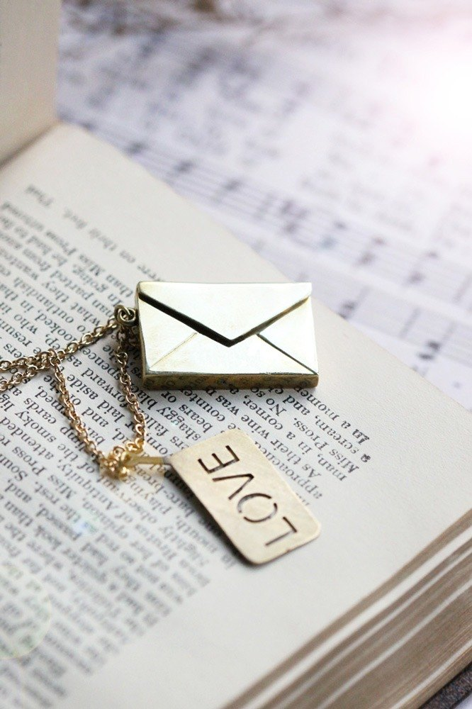 Envelop with Love Necklace / Linen Jewelry / Envelop Charm / Everyday Necklace / Paper Envelop Charms.