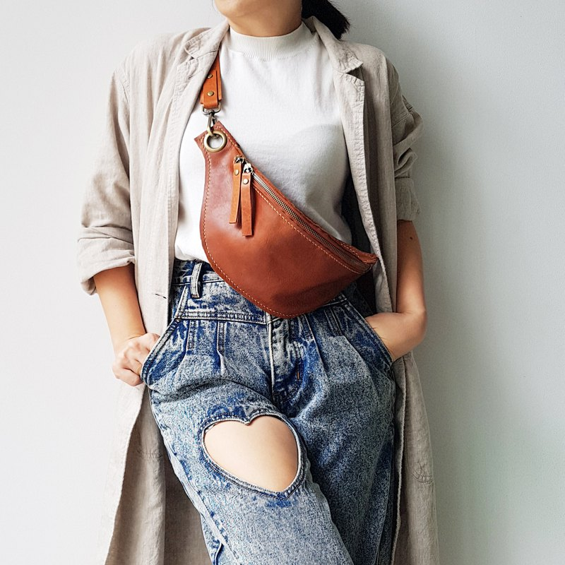 GENUINE LEATHER COPPER BUM BAG / FANNY PACK / CROSS BODY BAG
