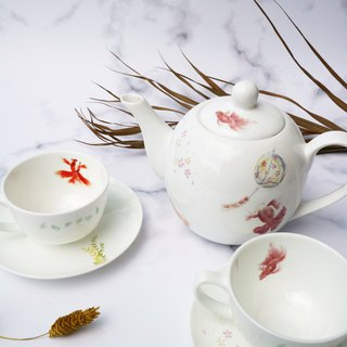 Autumn Italian Goldfish Tea Set/Teapot Two Cups and Saucers Five-piece Set
