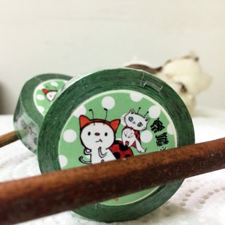 Cat white and ladybug paper tape