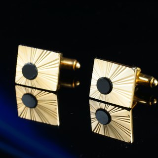 [Germany] C'est Cufflinks Picks Vintage vintage cufflinks golden sun pattern black onyx cufflinks