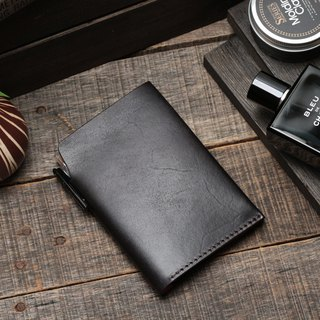 Retro meteorite black hand dyed yak leather handmade passport holder