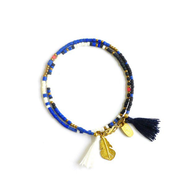 Ficelle | handmade brass natural stone bracelet | 【Blue】 Eternal ancient totem