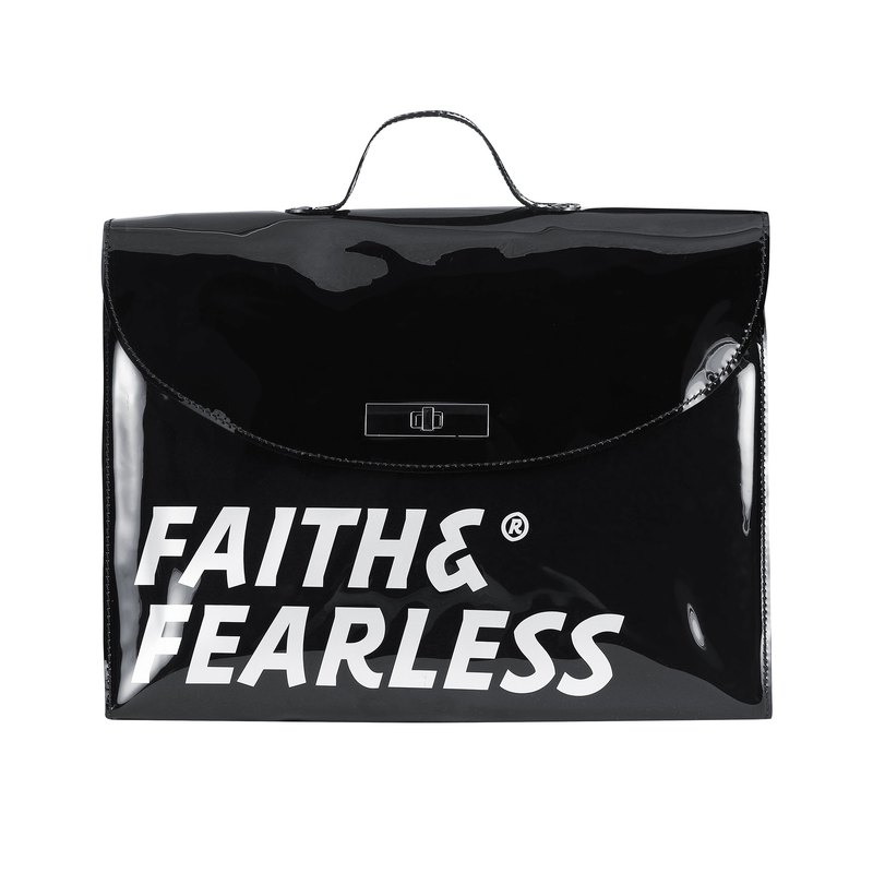 Faith & Fearless - PVC FOLDER BAG_BLACK