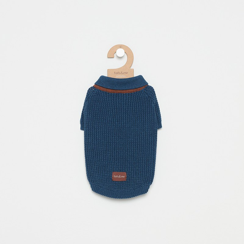 [Tail and me] pet clothes scarf collar sweater dark blue