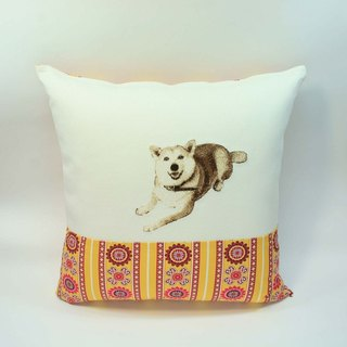 Large embroidery pillow cover 02 Shiba Inu