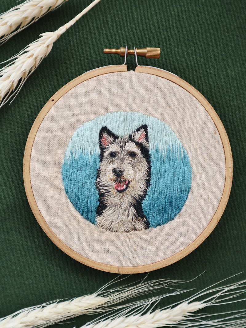 embroidered animal portrait commission