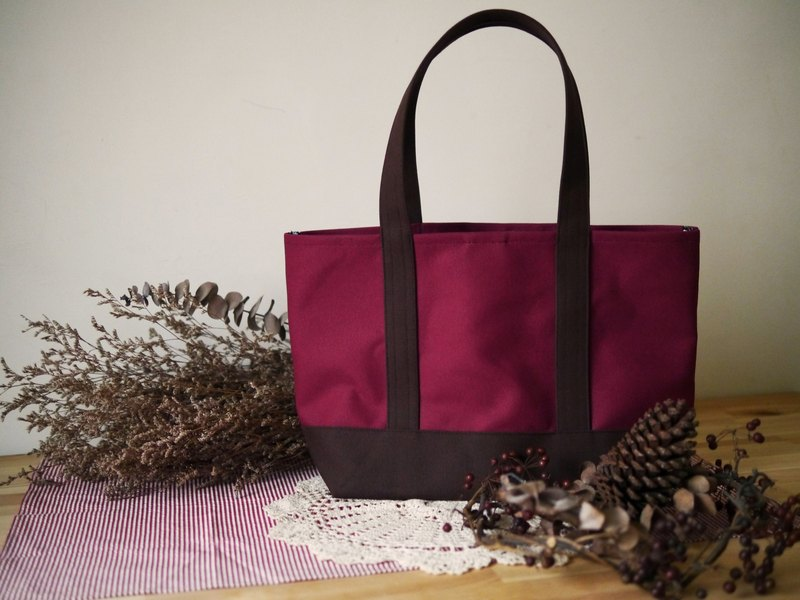 Classic Tote Bag Lsize wine x coffee - Wine Red x Coffee -