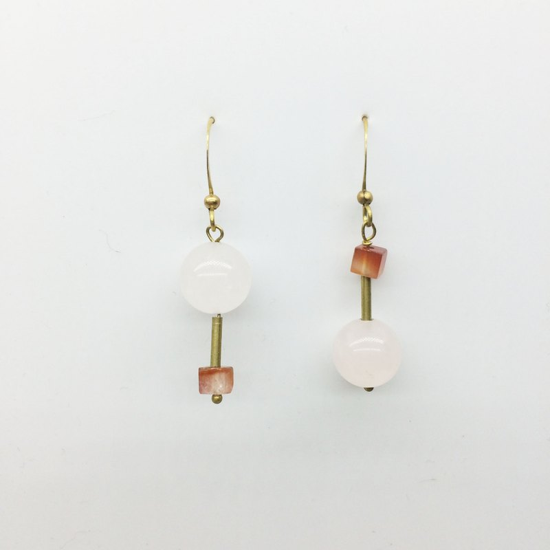 Lao Lin Grocery Travelin - Rotary - Hand Made Brass Natural Stone Earrings - Pink Crystal / Red Lines Agate / Peridot Clip-On Christmas Limited Gift Wrap (Free)