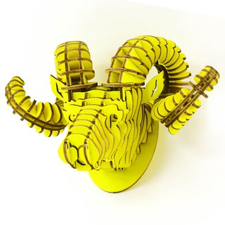 Rock climbing flying sheep bighorn sheep 3D hand made DIY home decoration ornaments yellow small
