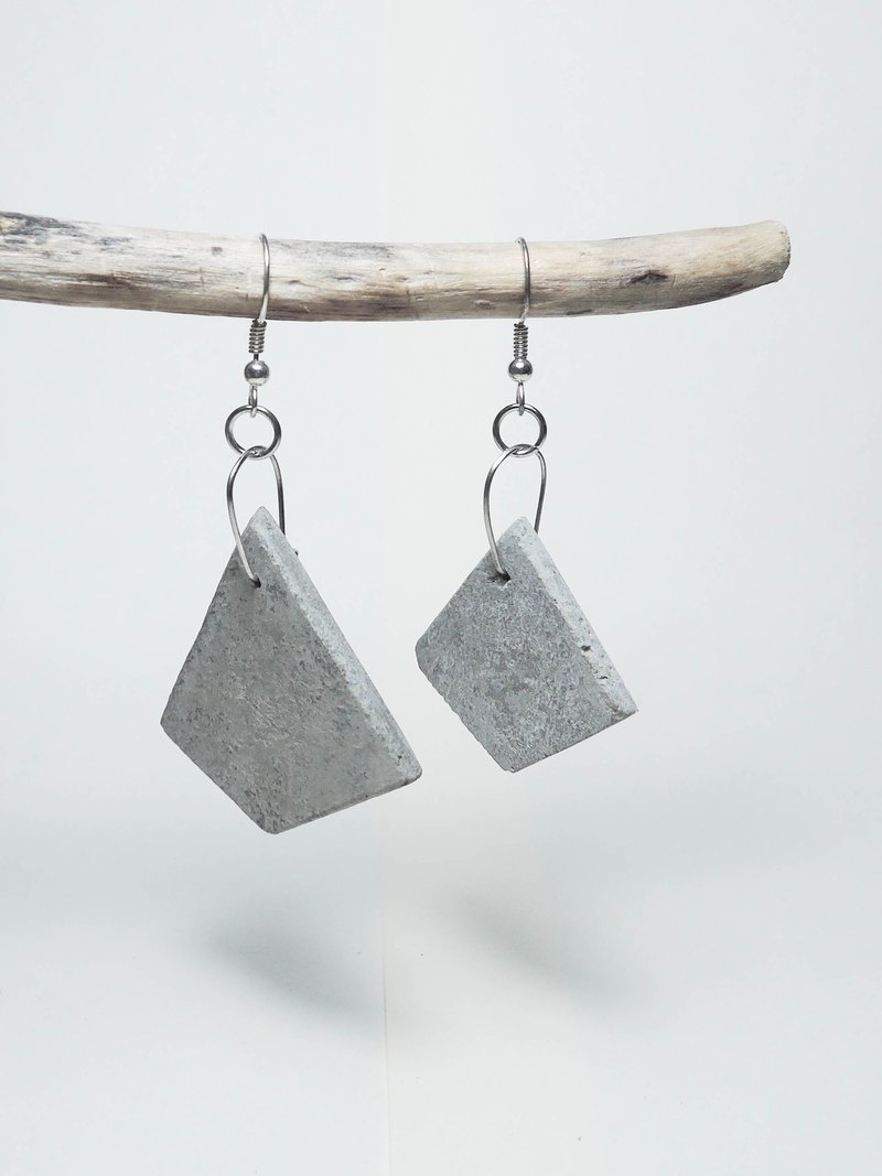 Cement Handmade Earrings Earrings - in fact a round square