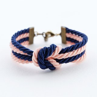 Navy/peach double knot bracelet