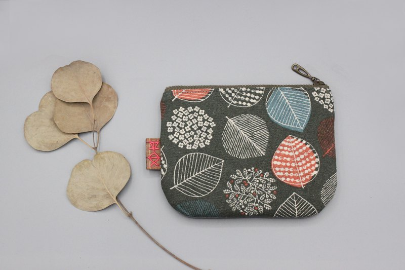 Peaceful little bag - gray orange leaves, double-sided two-color small wallet