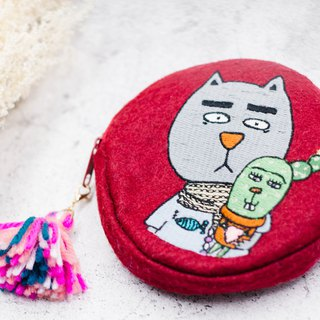 Illustration X embroidered cowboy cotton canvas round coin purse gentle fat cat and cactus BB