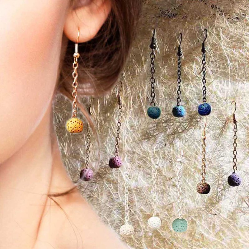Diffuser Dangle Hook Piercing Earrings Aroma Rock Lava Beads Colors Option