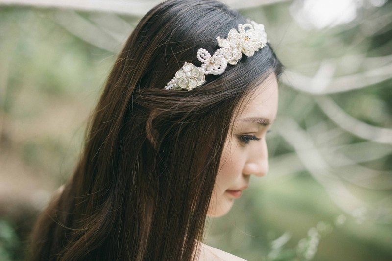 Spiraea gold lace flowers. Swarovski Elements crystal tiara