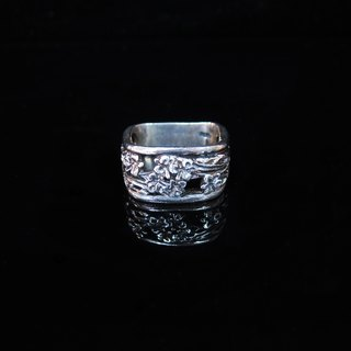 [Hollow ring series - grilles Manually-old silver ring. Commemorative ring. Valentine's Ring