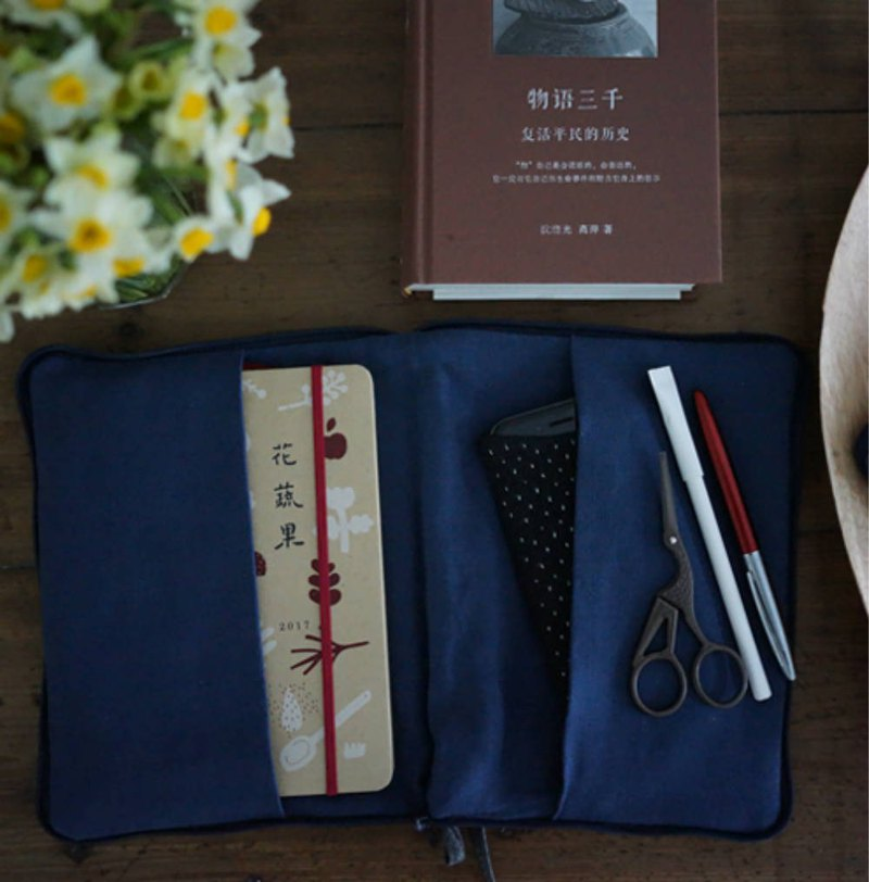 Blue striped hand woven cotton quilt hand bag Kindle bag clothing mobile phone pen bag debris storage bag