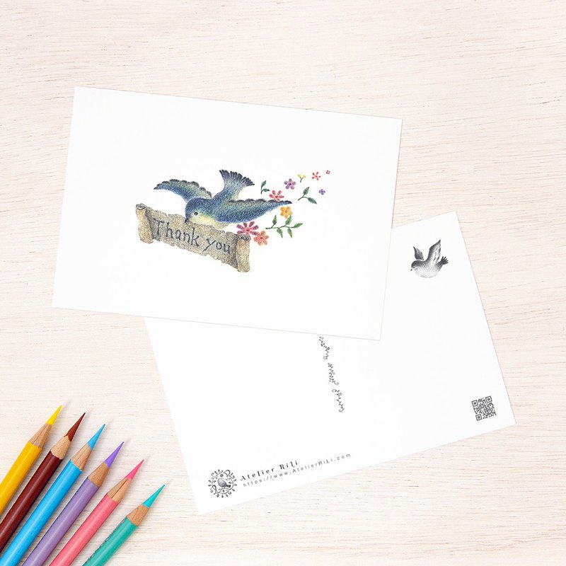 "4 pieces set. Like a picture book. Postcard ""Blue bird carrying letters"" PC-13"