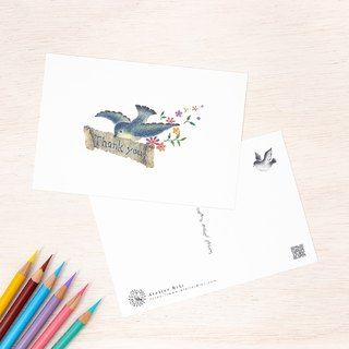 "4 pieces set. Like a picture book. Post card ""Blue bird carrying letters"" PC-13"