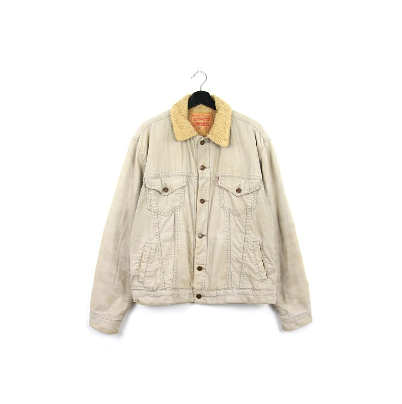 Back to Green :: Levi's Corduroy High Pound Lambskin Collar // vintage