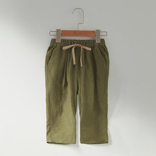 Ángeles-Linen Ribbon Cropped Trousers