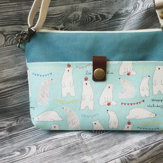 Polar bear cross-body flat bag (lake blue)